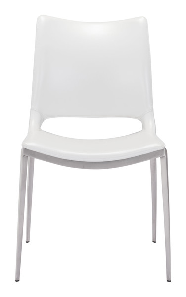Ace Dining Chair White &  Brushed Stainless Steel Set of Two