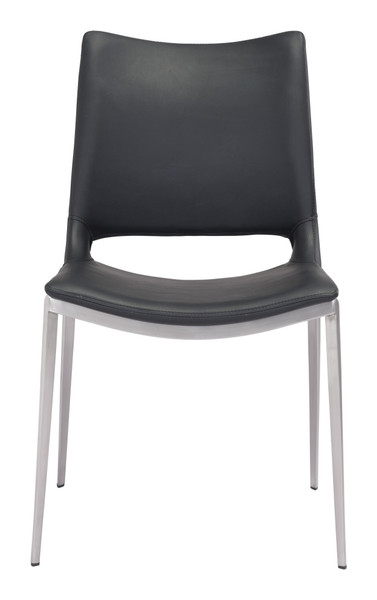 Ace Dining Chair Black &  Brushed Stainless Steel Set of Two