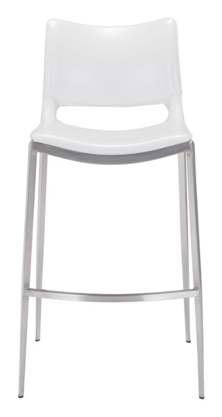 Ace Bar Chair White &  Brushed Stainless Steel Set of Two