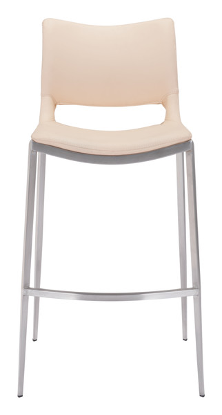 Ace Bar Chair Light Pink &  Brushed Stainless Steel Set of Two