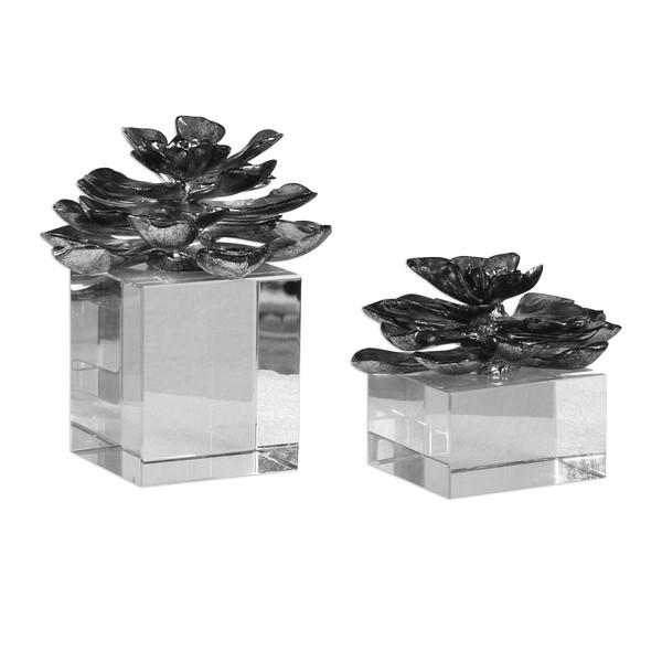 Uttermost Indian Lotus Metallic Silver Flowers S/2