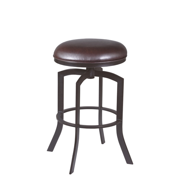 "Armen Living Studio 26"" Counter Height Barstool in Auburn Bay finish with Brown Faux Leather"
