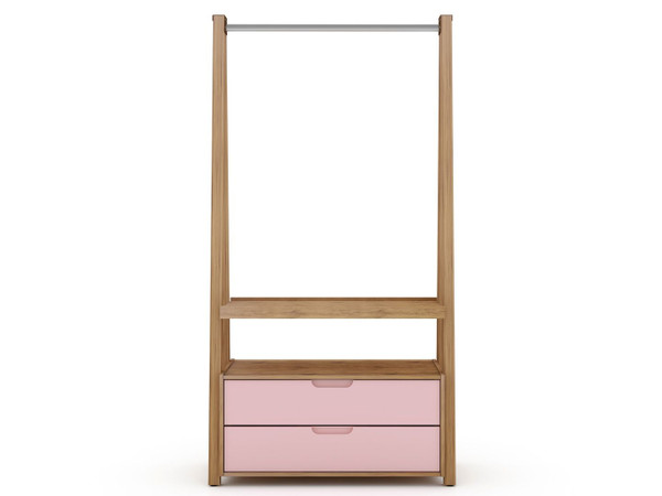Manhattan Comfort Rockefeller Home Office Storage with 2 Drawers in Nature and Rose Pink