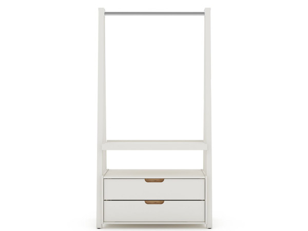 Manhattan Comfort Rockefeller Kitchen Pantry with 2 Drawers in Off White and Nature