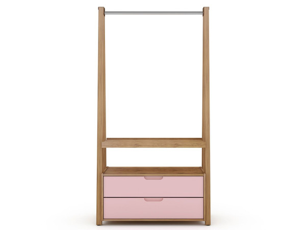 Manhattan Comfort Rockefeller Kitchen Pantry with 2 Drawers in Nature and Rose Pink