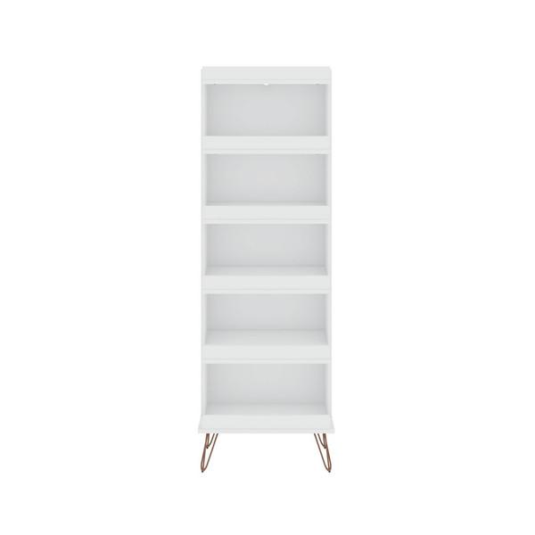 Manhattan Comfort Rockefeller Shoe Storage Rack with 6 Shelves in White