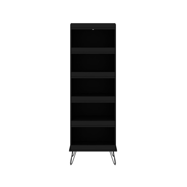 Manhattan Comfort Rockefeller Shoe Storage Rack with 6 Shelves in Black