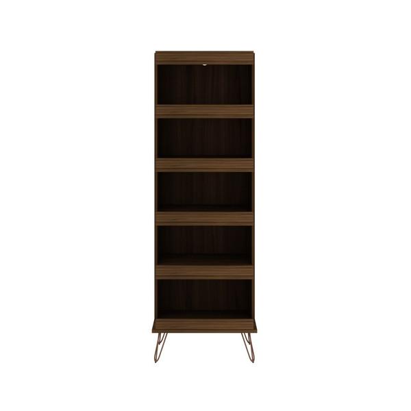Manhattan Comfort Rockefeller Shoe Storage Rack with 6 Shelves in Brown