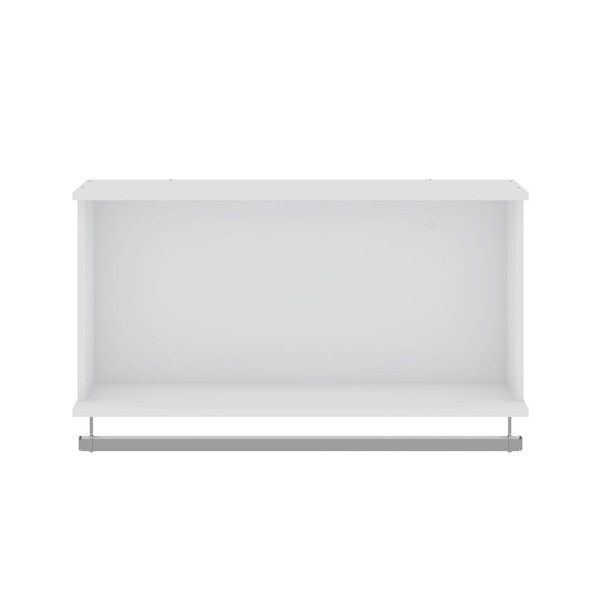 Manhattan Comfort Rockefeller 35.24 Open Floating Hanging Closet with Shelf and Hanging Rod in White