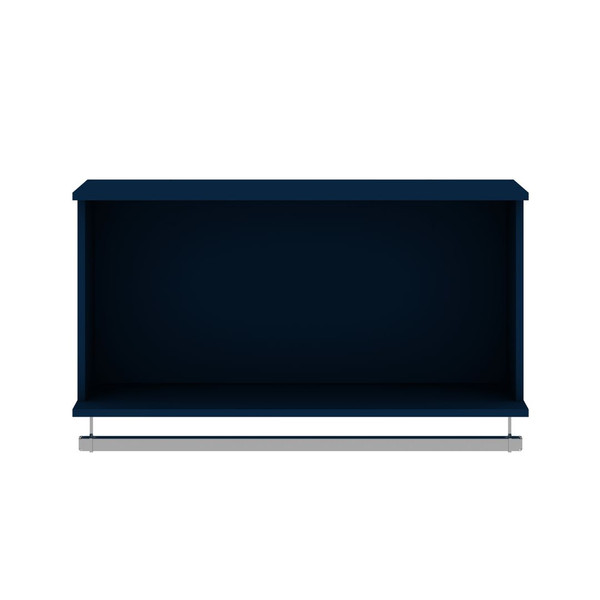 Manhattan Comfort Rockefeller 35.24 Open Floating Hanging Closet with Shelf and Hanging Rod  in Tatiana Midnight Blue