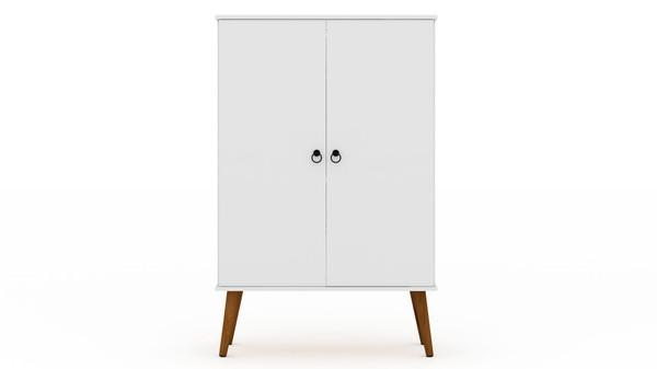 Manhattan Comfort Tribeca Mid-Century-Modern Shoe Closet with Adjustable Shelves in White