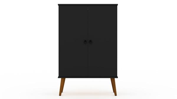 Manhattan Comfort Tribeca Mid-Century-Modern Shoe Closet with Adjustable Shelves in Black