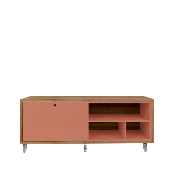 Manhattan Comfort Windsor 53.62 Modern Shoe Rack Bed Bench with Silicon Casters in Ceramic Pink and Nature