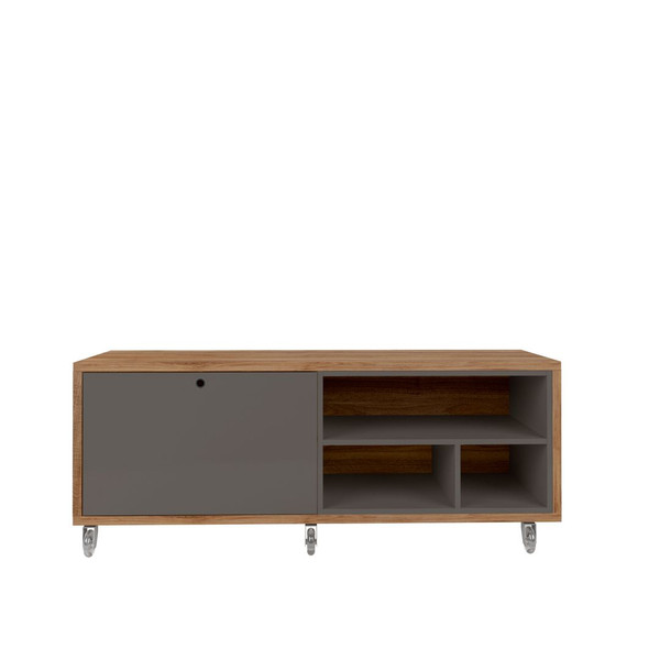Manhattan Comfort Windsor 53.62 Modern Shoe Rack Bed Bench with Silicon Casters in Grey and Nature