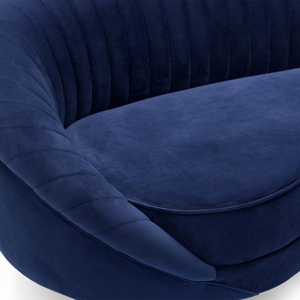 Karisma Navy Curved Velvet Sofa