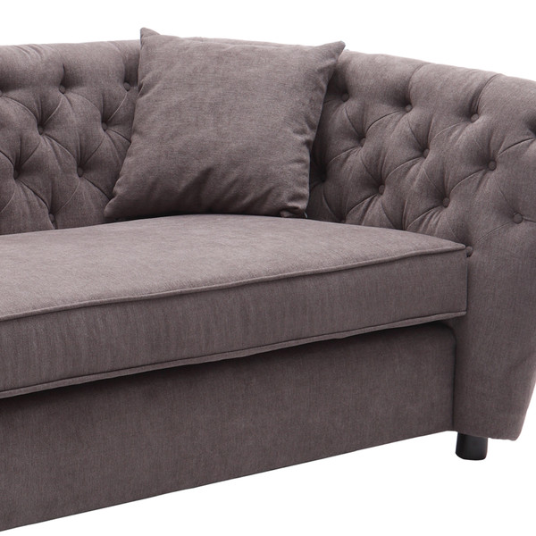 Armen Living Rhianna Transitional Loveseat in Brown Tufted Chair