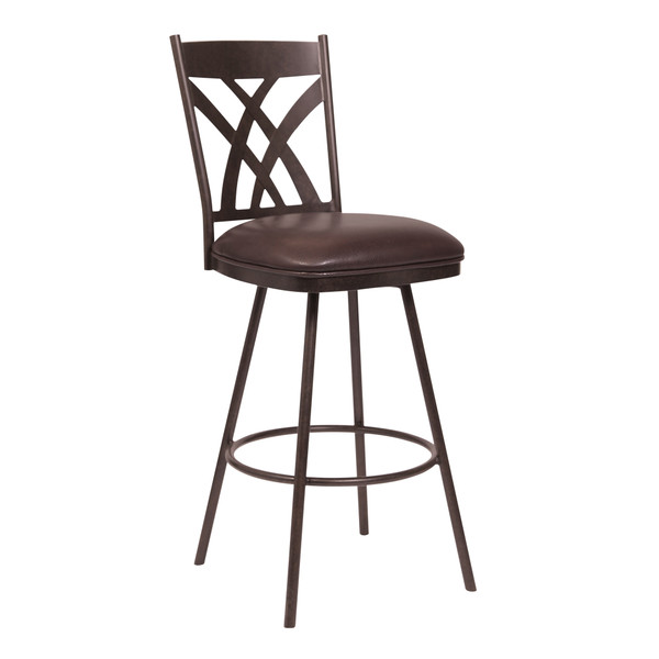 "Dover 30"" Bar Height Barstool in Auburn Bay and Brown Faux Leather"