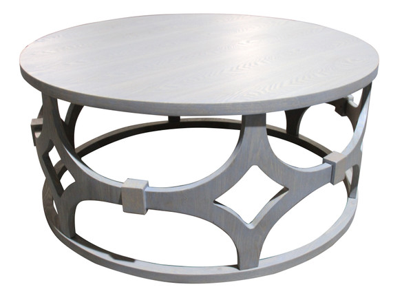 """Tuxedo Contemporary 42"""" Round Wood and Metal Coffee Table"""