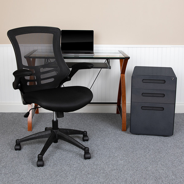 Office Set Bundle: Computer Desk, Office Chair and Locking File Cabinet