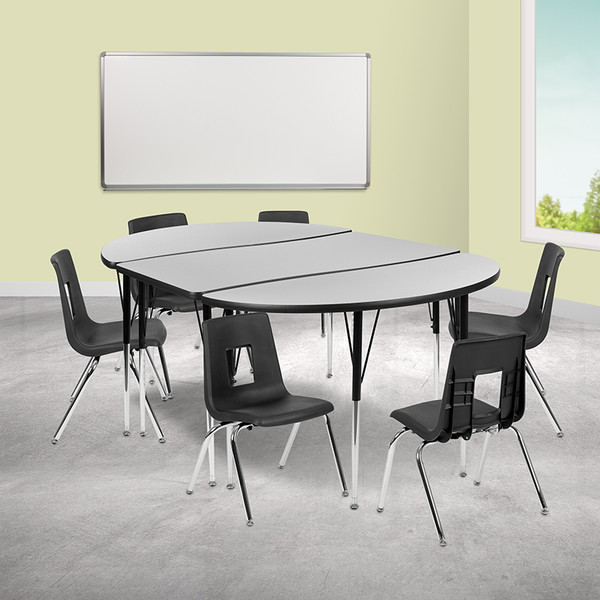 "76"" Oval Wave Collaborative Laminate Activity Table Set with 16"" Student Stack Chairs, Grey/Black [XU-GRP-16CH-A3048CON-48-GY-T-A-GG]"