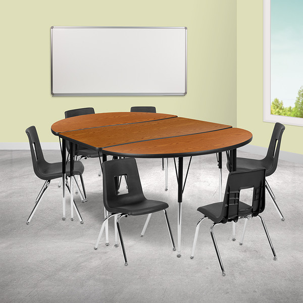 """76"""" Oval Wave Collaborative Laminate Activity Table Set with 16"""" Student Stack Chairs, Oak/Black [XU-GRP-16CH-A3048CON-48-OAK-T-A-GG]"""