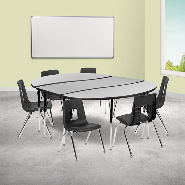 """86"""" Oval Wave Collaborative Laminate Activity Table Set with 16"""" Student Stack Chairs, Grey/Black [XU-GRP-16CH-A3060CON-60-GY-T-A-GG]"""