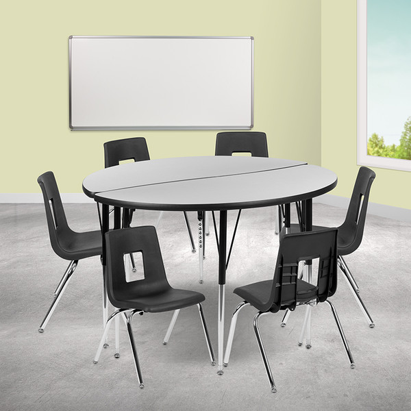 """47.5"""" Circle Wave Collaborative Laminate Activity Table Set with 16"""" Student Stack Chairs, Grey/Black [XU-GRP-16CH-A48-HCIRC-GY-T-A-GG]"""