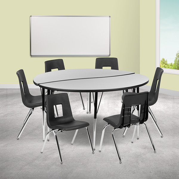 "60"" Circle Wave Collaborative Laminate Activity Table Set with 16"" Student Stack Chairs, Grey/Black [XU-GRP-16CH-A60-HCIRC-GY-T-A-GG]"