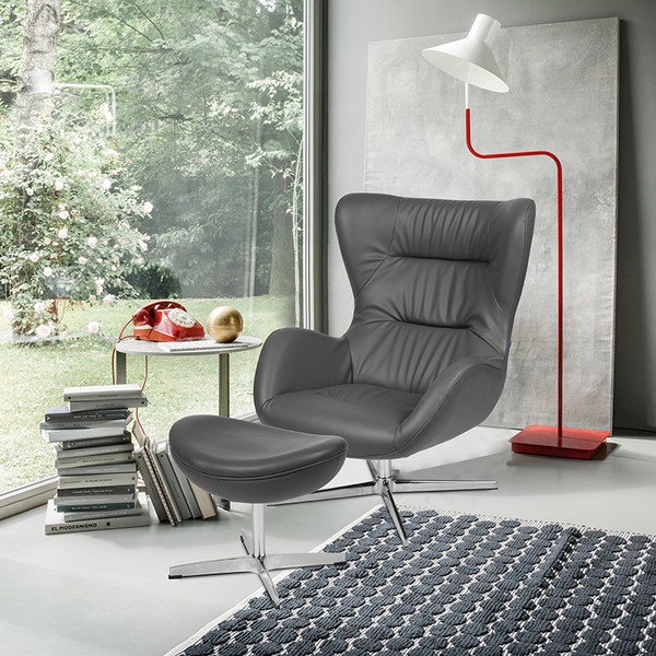 Gray LeatherSoft Swivel Wing Chair and Ottoman Set [ZB-WING-CH-OT-GY-LEA-GG]