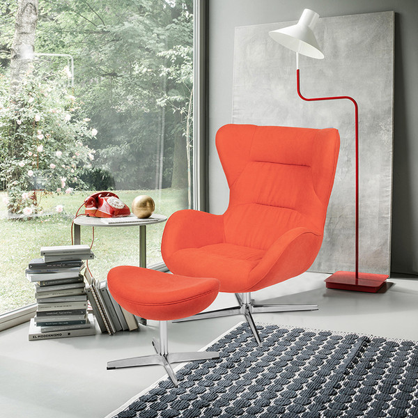 Orange Fabric Swivel Wing Chair and Ottoman Set [ZB-WING-CH-OT-ORG-FAB-GG]