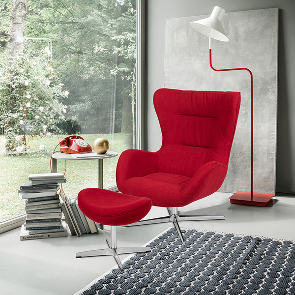 Red Fabric Swivel Wing Chair and Ottoman Set [ZB-WING-CH-OT-RED-FAB-GG]