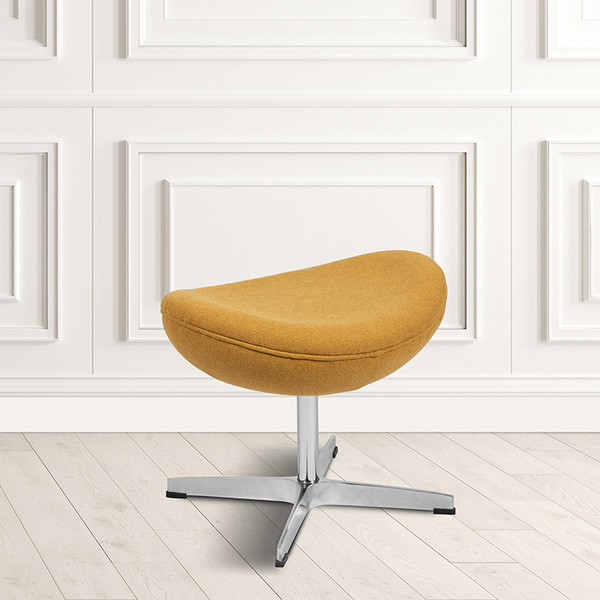 Citron Fabric Saddle Wing Ottoman [ZB-WING-CIT-OTT-FAB-GG]