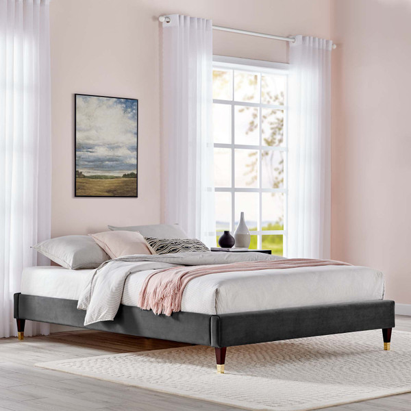 Harlow King Performance Velvet Platform Bed Frame