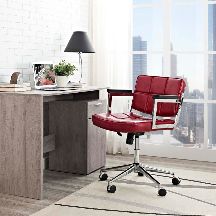 Portray Mid Back Upholstered Vinyl Office Chair Red EEI-2686-RED