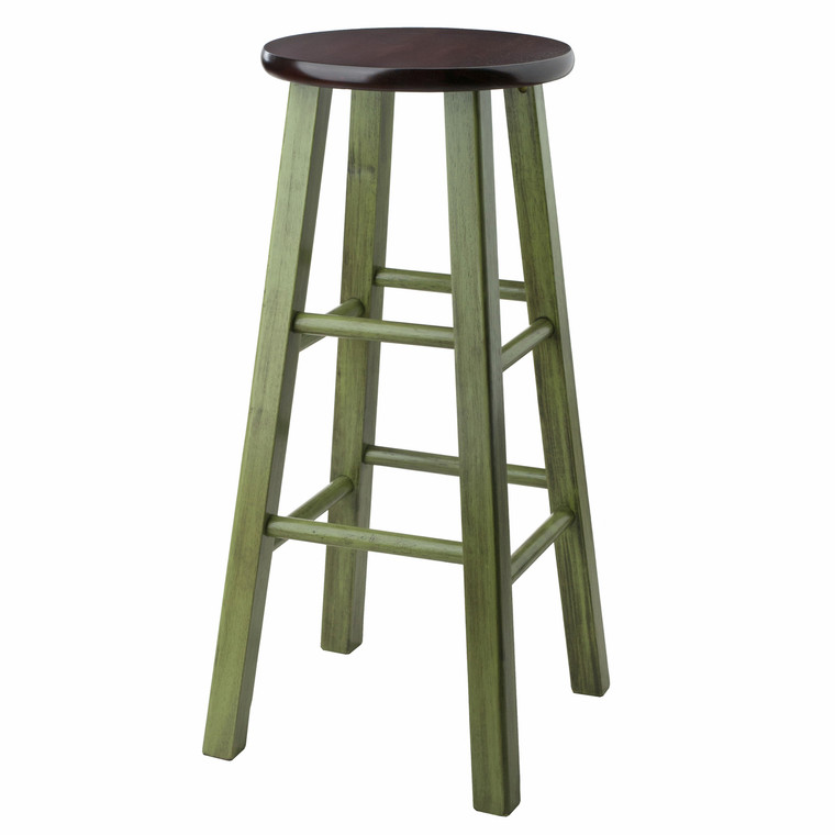 "Ivy 29"" Bar Stool Rustic Green w/ Walnut Seat"