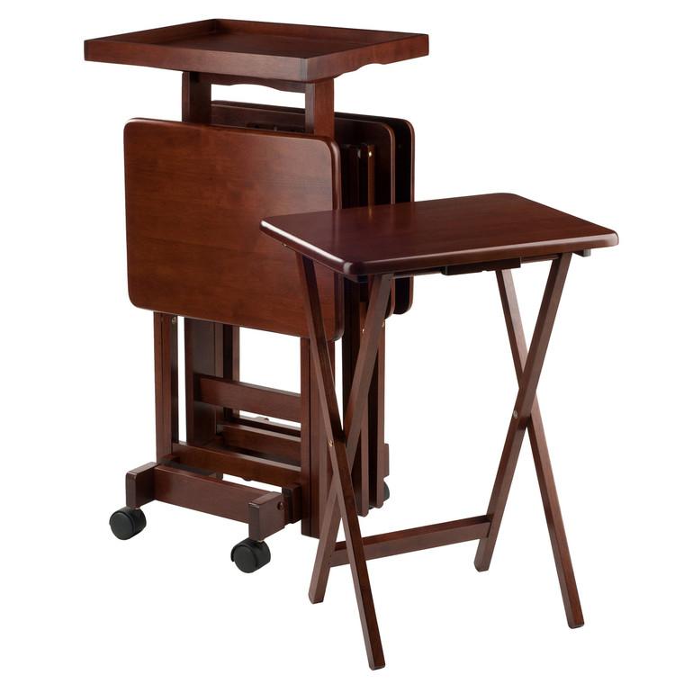 6-PC Snack Table Set Walnut