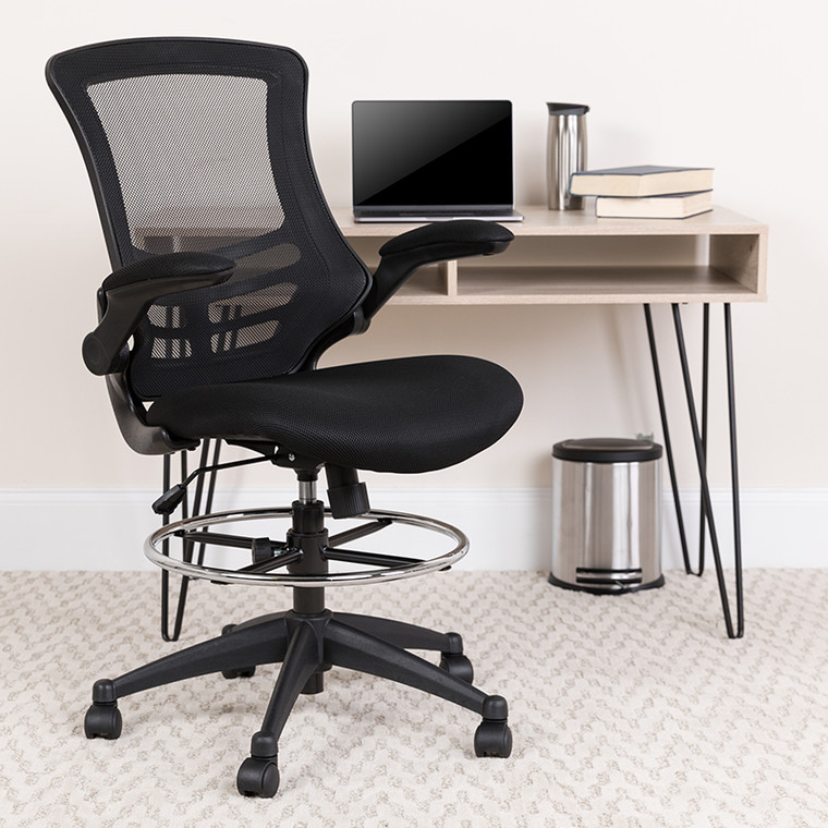 Contemporary Adjustable Height Drafting Stool with Flip-Up Arms