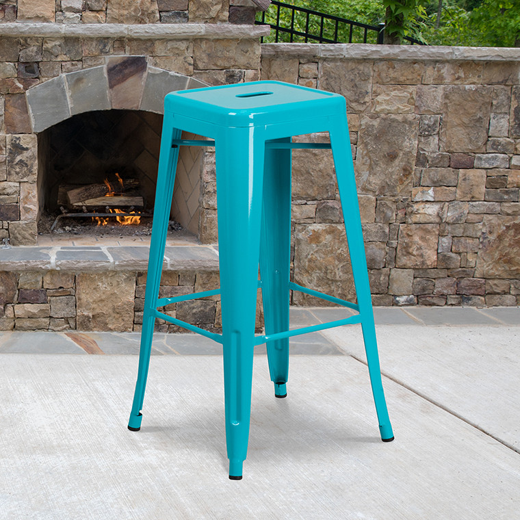 Industrial Backless Bar Height Stool for Indoor or Outdoor Use