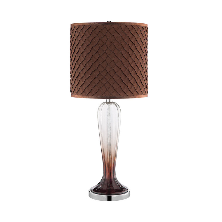 Vini Table Lamp in Clear and Bronze Ombre Glass and Chrome with Dark Brown Textured Hardback Shade