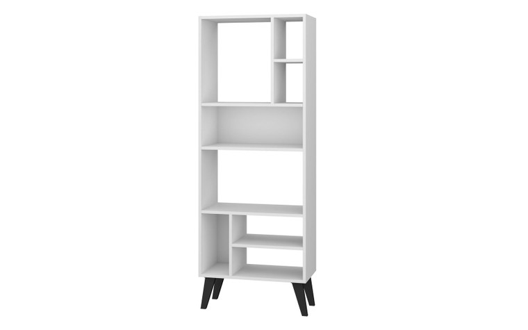 Manhattan Comfort Warren Tall Bookcase 1.0   with 8 Shelves in White with Black Feet