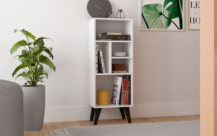 Manhattan Comfort Warren Mid-High Bookcase 2.0 with 5 Shelves in White with Black Feet