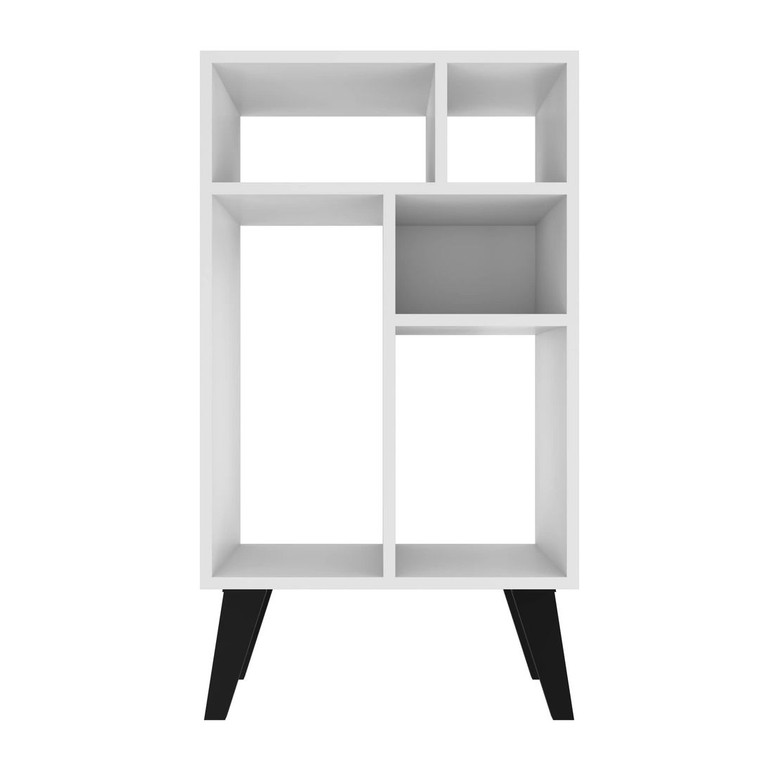 Manhattan Comfort Warren Low Bookcase 3.0 with 5 Shelves  in White with Black Feet