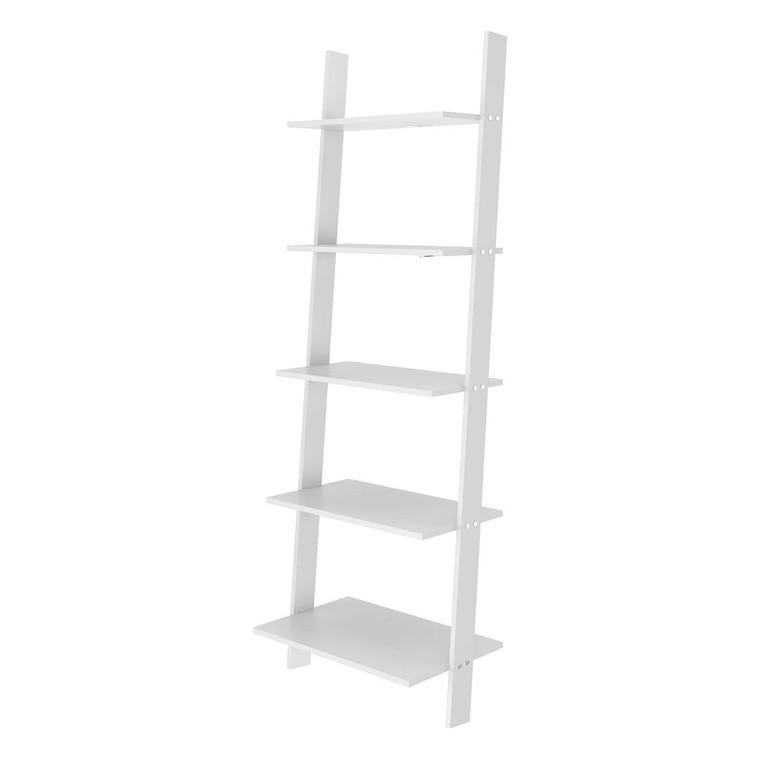 Manhattan Comfort Cooper 5-Shelf  Floating Ladder Bookcase in White
