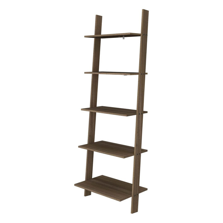 Manhattan Comfort Cooper 5-Shelf  Floating Ladder Bookcase in Oak