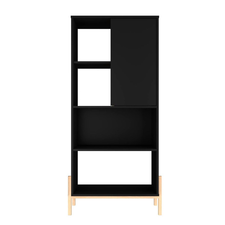 Manhattan Comfort Bowery Bookcase with 5 Shelves in Black and Oak