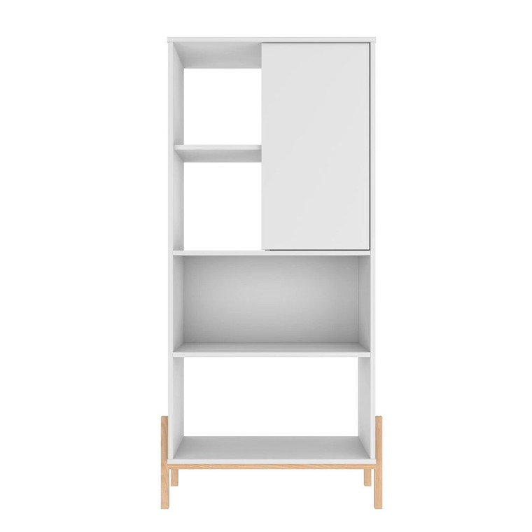 Manhattan Comfort Bowery Bookcase with 5 Shelves in White and Oak