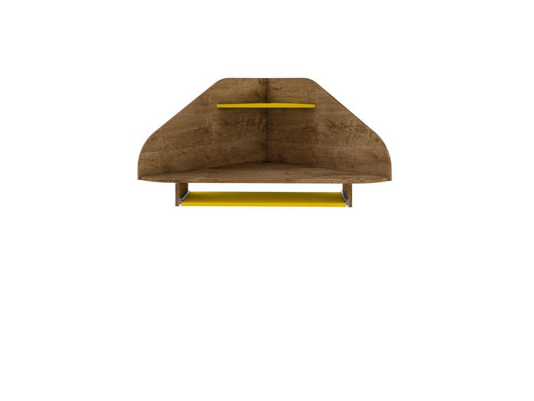 Manhattan Comfort Bradley Floating Corner Desk with Keyboard Shelf in Rustic Brown and Yellow