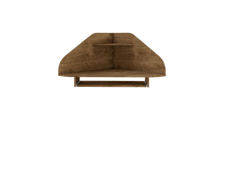 Manhattan Comfort Bradley Floating Corner Desk with Keyboard Shelf in Rustic Brown