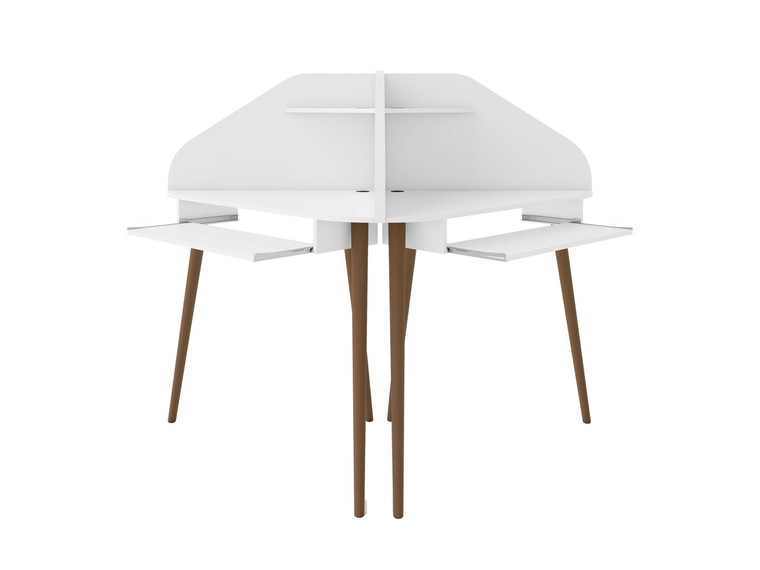 Manhattan Comfort Bradley 2-Piece Cubicle Section Desk with Keyboard Shelf in White