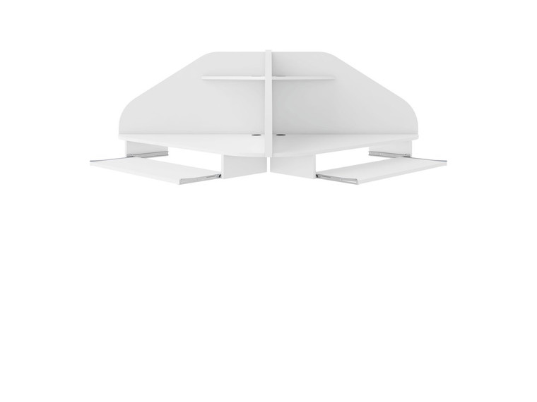 Manhattan Comfort Bradley Floating 2-Piece Cubicle Section Desk with Keyboard Shelf in White